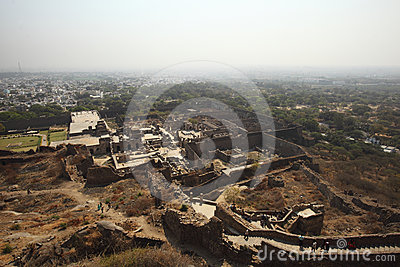Tourists from top of Golconda Fort, Hyderabad Editorial Stock Image