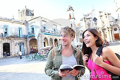 Tourists - tourist couple travel in Havana, Cuba