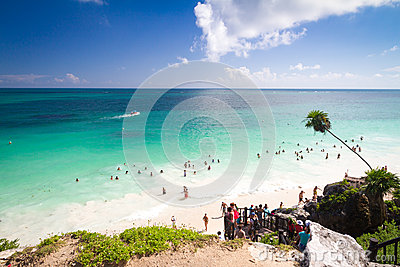 Tourists at Tulum beach, Mexico Editorial Stock Photo