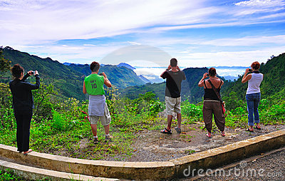 Tourists viewing Guatemala landscape Editorial Stock Image