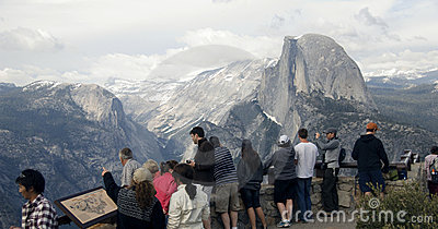Tourists Viewing Half Dome - Editorial Editorial Stock Photo