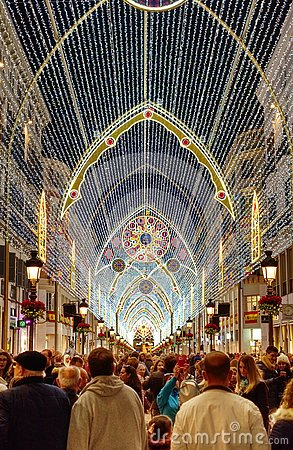 Free Tourists Visiting Christmas Lights, Malaga, Spain. Royalty Free Stock Image - 149714746