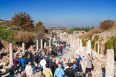 Tourists visiting Ephesus Editorial Stock Image