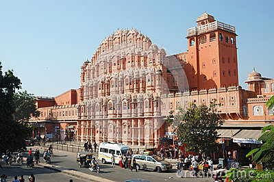 Tourists visiting famous landmark Hawa Mahal Palace,Jaipur,India Editorial Stock Photo
