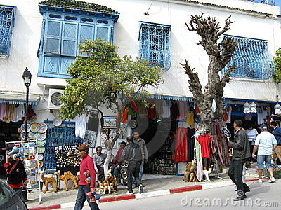 Tourists visiting Sidi Bou Said Editorial Photo