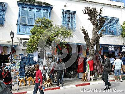 Tourists visiting Sidi Bou Said Editorial Photo