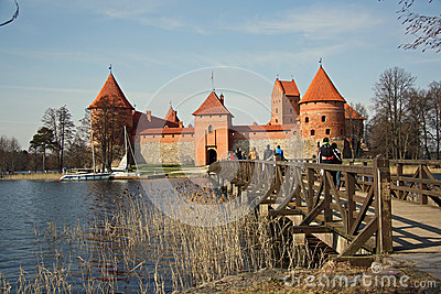 Tourists visiting the Trakai medieval castle Editorial Photography