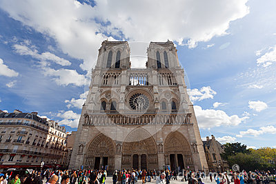 Tourists visits Notre Dame cathedral Editorial Stock Image