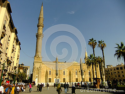 Tourists walking by Al-Hussein Mosque, Islamic district, Cairo Editorial Stock Image