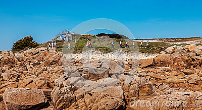 Tourists Walking in Britanny Editorial Stock Photo