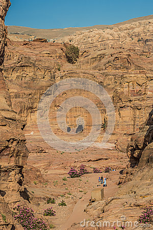 Tourists walking in nabatean city of  petra jordan