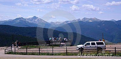 Tourists watching the landscape of Colorado Editorial Photo