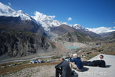 Tourists watching Nepali landscape Editorial Stock Image