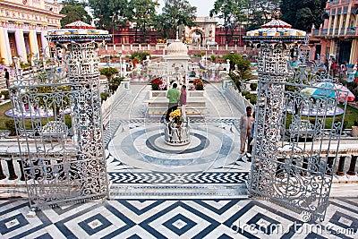 Tourists watch the sculptures outdoor Jain Temple Editorial Stock Image