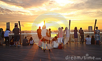 Tourists watching sunset, Singapore Editorial Photography