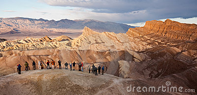 Tourists at Zabriskie Point in Death Valley