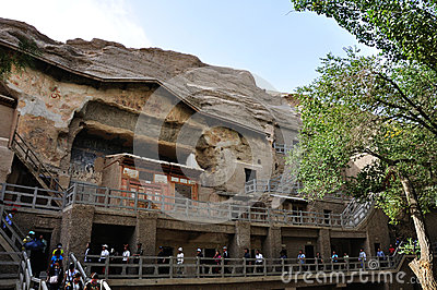 Tours in the Mogao Caves Editorial Stock Image