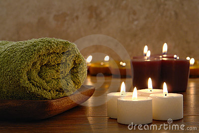 Towel and Aromatherapy Candles in a Spa