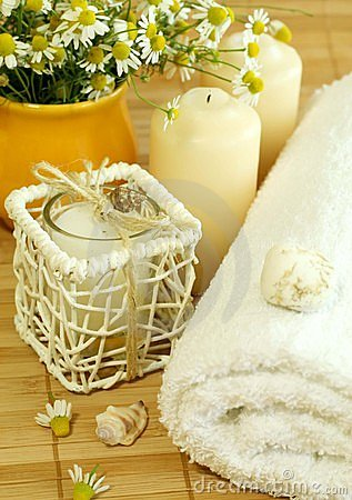Towel, candles and camomile.