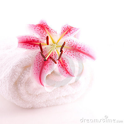 Towel and lily