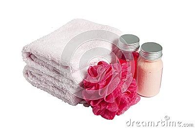 Towels, shampoo , sponge and foam, isolated