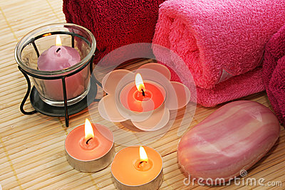 Towels, soap,  candles