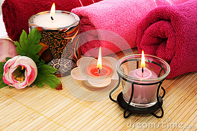 Towels, soap, flower, candles