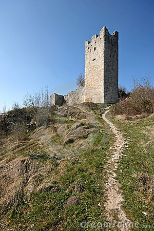Tower of abandoned medieval town Dvigrad
