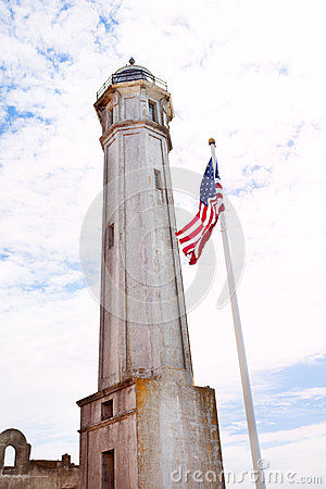 Free Tower And USA Flag In Alcatraz Stock Photo - 65980220