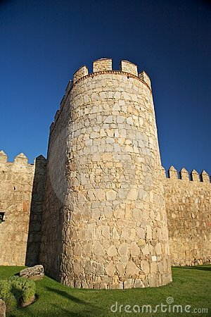 Tower with battlements and grass
