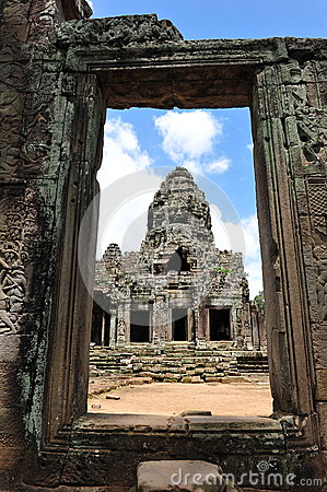 Tower of Bayon Temple in Cambodia