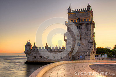 Tower of Belem at sunset, Lisbon