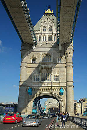 Tower Bridge arch view with cars, London Editorial Stock Photo