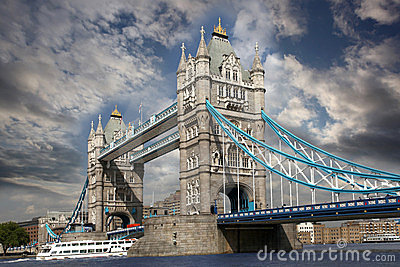 Tower Bridge with city boat, London, UK