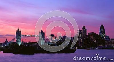 Tower Bridge and City at night