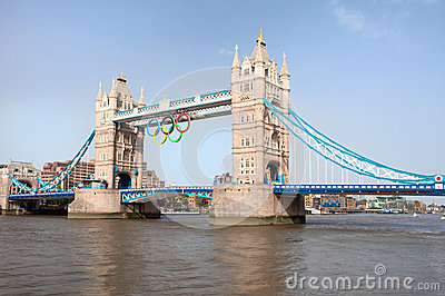 Tower bridge decorated with Olympic rings Editorial Photography