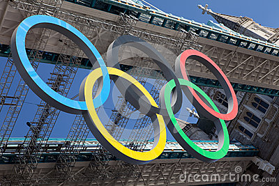 Tower bridge decorated with Olympic rings Editorial Stock Image