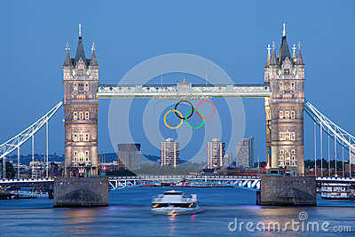 Tower bridge decorated with Olympic rings London Editorial Photo