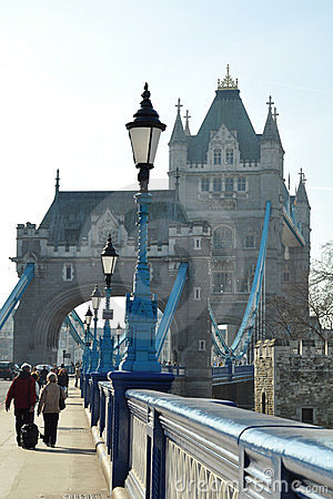 Tower Bridge entrance: lantern perspective Editorial Photo