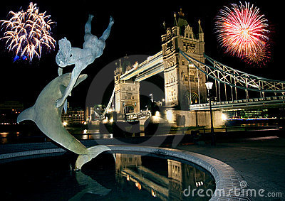 Tower Bridge and Fireworks.