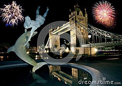 Tower Bridge and Fireworks.
