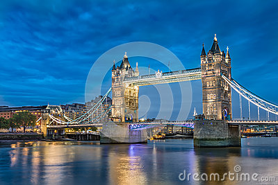 Tower Bridge an iconic symbol of London at night in England.