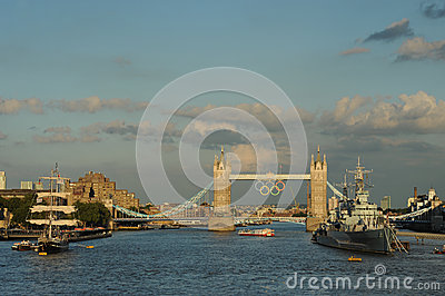 Tower Bridge,London during the 2012 Olympics Editorial Stock Photo