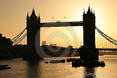Tower Bridge in London at dawn