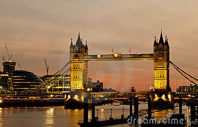 The Tower Bridge in London at dusk