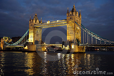 Tower Bridge, London, England, UK, Europe, at dusk