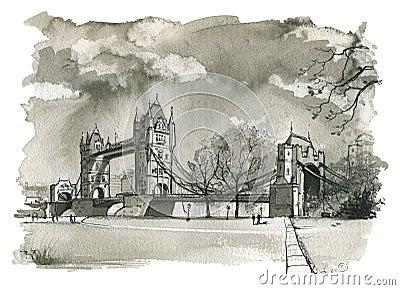 Tower Bridge, London Illustration