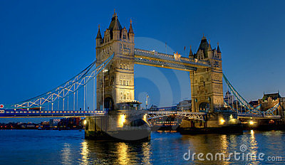 Tower Bridge in London at night scene