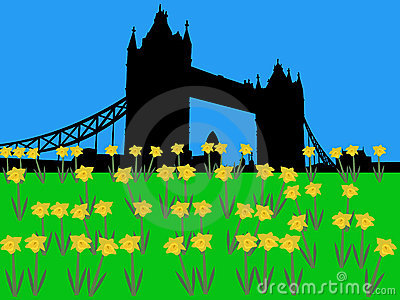 Tower Bridge London in springtime
