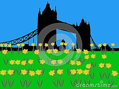 Tower Bridge London in springtime